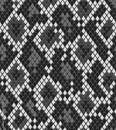 Snake or crocodile skin seamless pattern in grey, vector