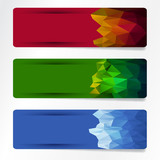 set of polygonal  banner