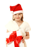 happy christmas little girl with pesent box