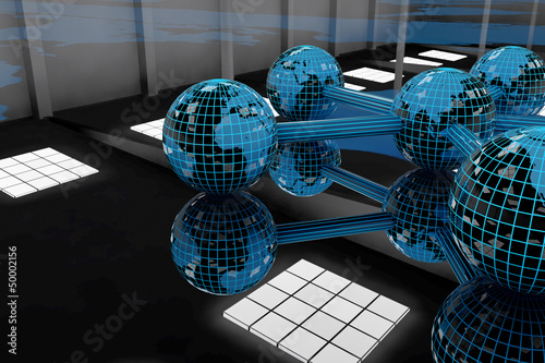Global world - connect - 3D Render