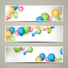 Vector Illustration of Colorful Banners with Balloons