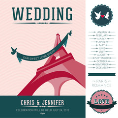 Set of design elements for the wedding invitation