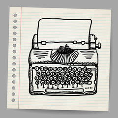 Sketchy illustration of a typewriter machine