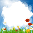 Vector Background with Flowers and Blue Sky