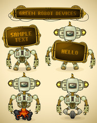 Green vintage robot devices