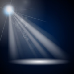 Vector Illustration of Blue Luminous Rays