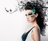 face art of rhinestones on brunette woman and smoke poster