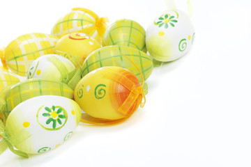 Beautiful spring Easter Eggs on white