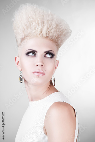 close-up portrait of punk blond woman