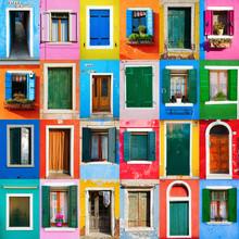 Collage de portes et fenêtres de Burano