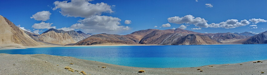 Pangong Lake in panorama, Ladakh, India
