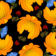 Seamless texture with yellow flowers on a black background