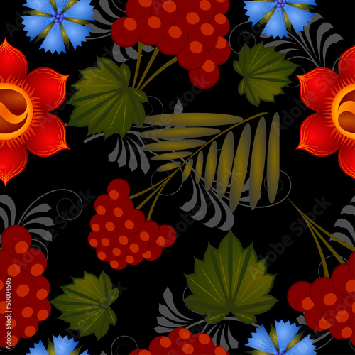 Seamless floral background with elements of Petrikovs painting