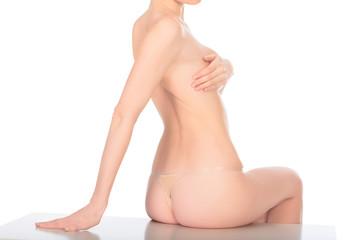 woman with beautiful slim body sitting