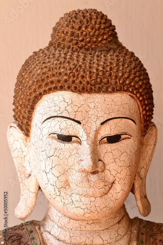 Skin rupture Buddha statue  in Thai temple