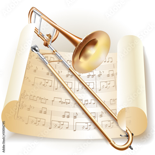 Classical trombone with notes in retro style