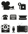 vintage and old art equipment silhouette video photo phone recor