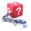 Red dice with question mark and chain