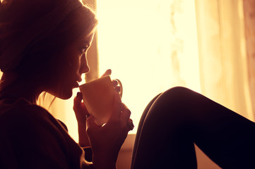 girl and coffee in the morning