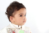 Indian Baby Boy wearing Traditional Clothes in white background