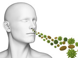 3d rendered illustration of a guy breathing pollen