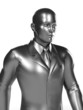 3d rendered illustration of a metallic businessman