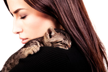 woman and kitten