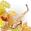 Classical saxophone alto on white autumn background