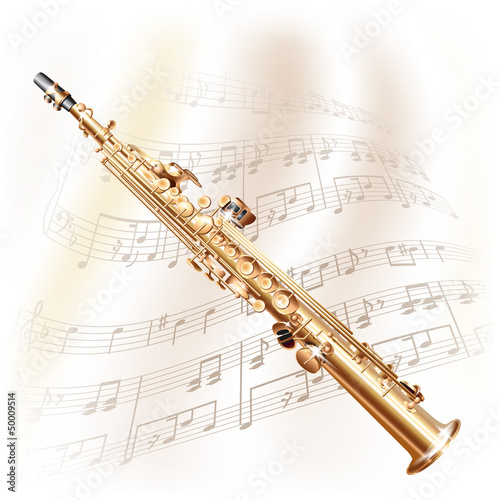 Classical soprano sax on white background with musical notes - 50009514