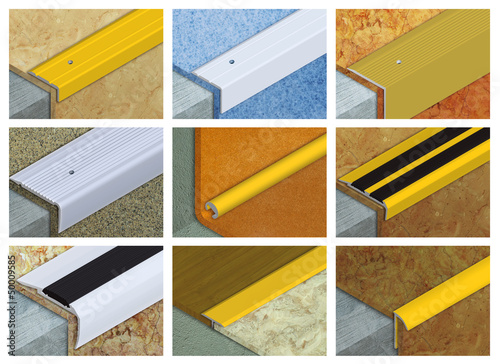 Aluminium profile for connection of floor coverings