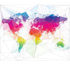 colored world map triangle design