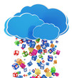 Rain from Application Icons. Cloud Computing Concept