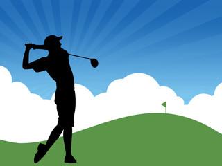Ilustração de jogador de golfe jogando no campo