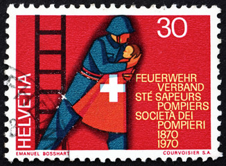 Postage stamp Switzerland 1970 Fireman Rescuing Child