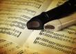 Böckflöten auf Musiknoten