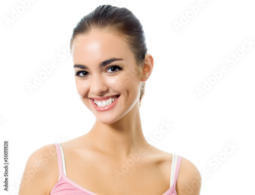 Young happy smiling woman, isolated over white