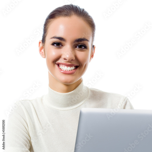 Business woman with laptop, isolated