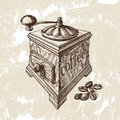 Hand drawn illustration. Coffee mill
