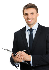 Businessman with clipboard writing, isolated
