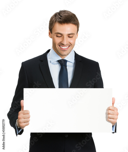 Businessman showing blank signboard, isolated