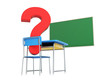 school desk question mark 3d Illustrations on a white background