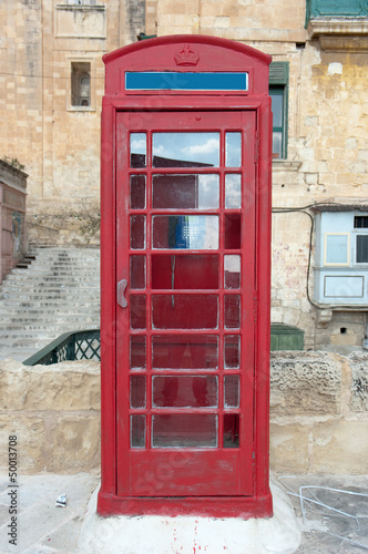 old style red phone booth in Valletta, Malta