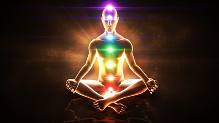 Yoga practice. Chakras activation and enlightenment.