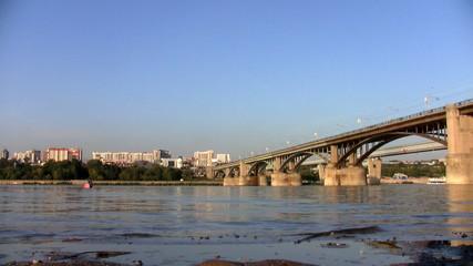 Bridge on the River Ob in Novosibirsk
