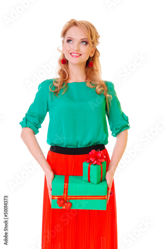 woman holds  gift boxes