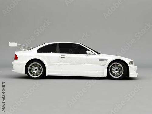 3D Sportcar isolated on gray background