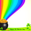 Magic leprechauns pot with gold under the rainbow