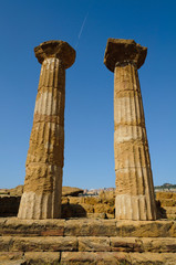 Two Doric Columns up on to the blue sky