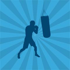 Boxer mit Sandsack