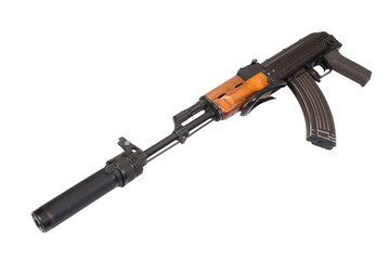 Kalashnikov specnaz with silencer isolated on white